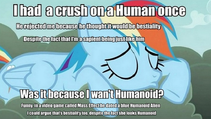 Would you do the same if you were lucky enough for Rainbow Dash to have a crush on you?