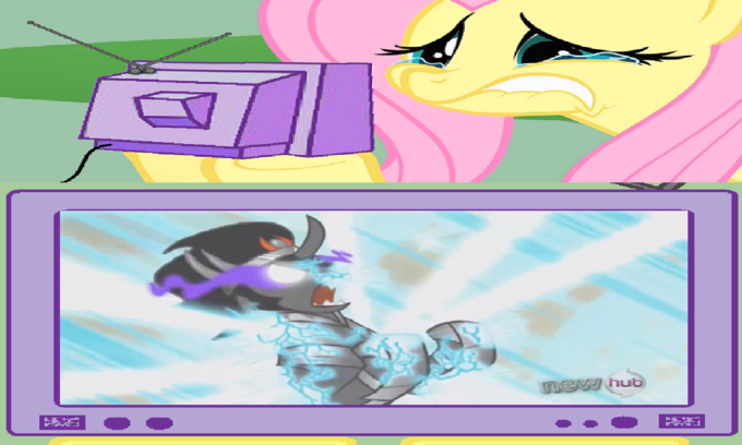 Fluttershy Cries Over King Sombra's Defeat