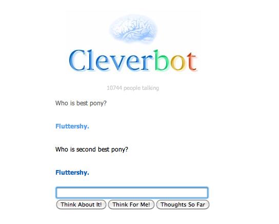 Cleverbot seems to be a Fluttershy fan.