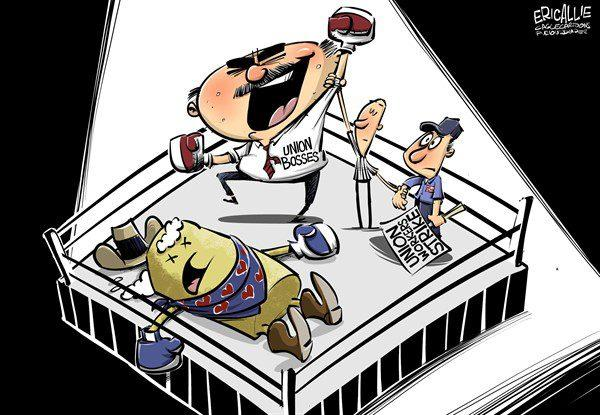 Political Cartoon - Unions vs Hostess