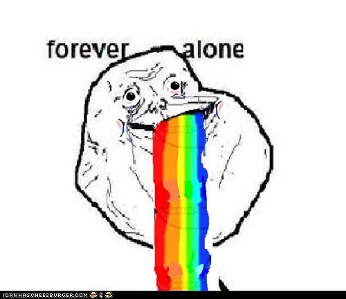 forever alone puking rainbows