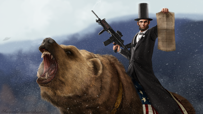 Abe Lincoln Riding a Grizzly Bear