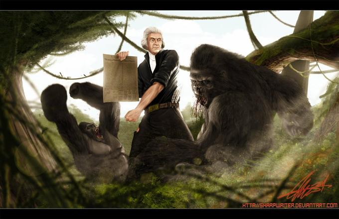 Thomas Jefferson fist fighting a gorilla