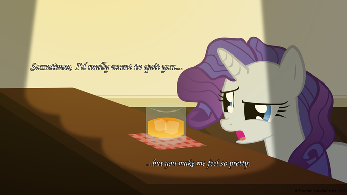 Rarity and her apple juice. C: