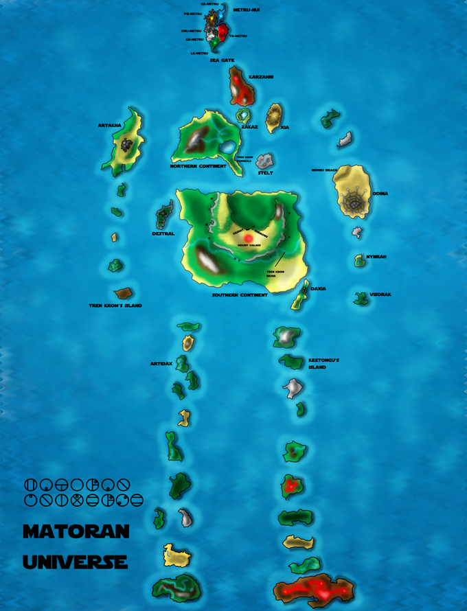 Matoran Universe Map (Colored)
