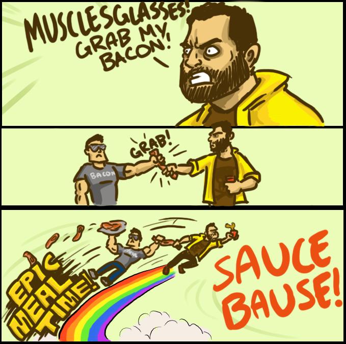 Musclesglasses Grab my Bacon
