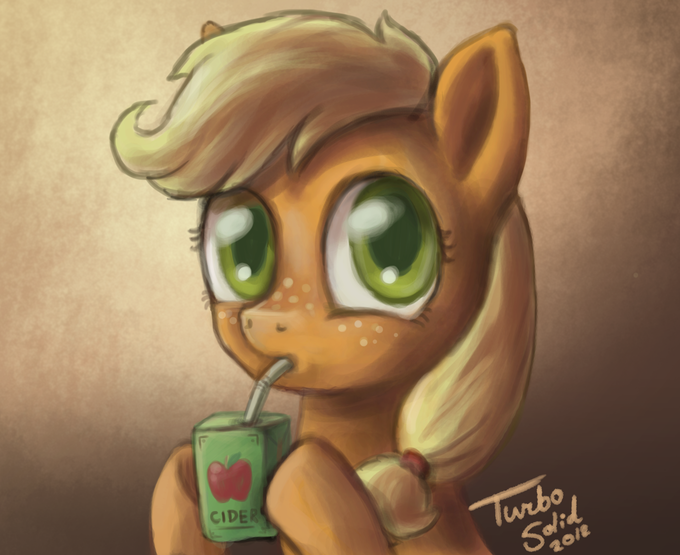 Filly Applejack enjoys farm fresh Cider