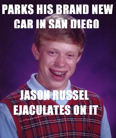 Parks car in San Diego Jason Russel ejaculates on it