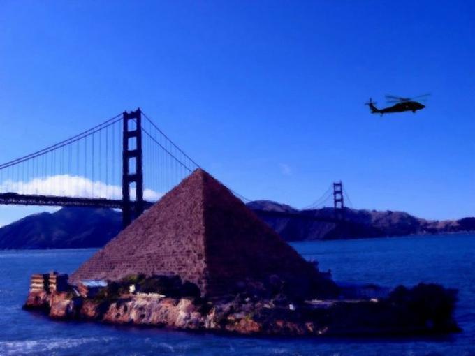 UFO Phil's proposal for a pyramid on Alcatraz Island in San Francisco