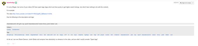 Screenshot of Megan's Unrelated Spam Tags