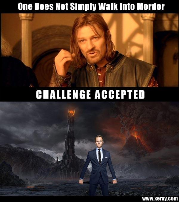 Barney walks into Mordor
