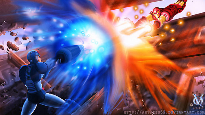 Megaman vs. Ironman by Antares69