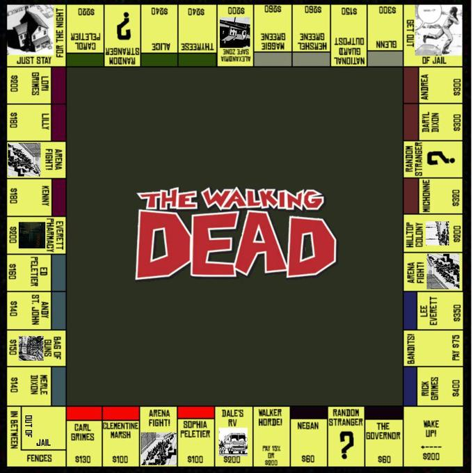 Walking dead Monopoly board