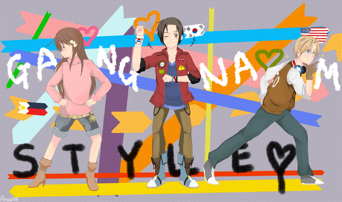 Hetalia: Gangam Style(Ft: South Korea, USA, Philippines)