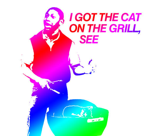 I got the cat on the grill, see