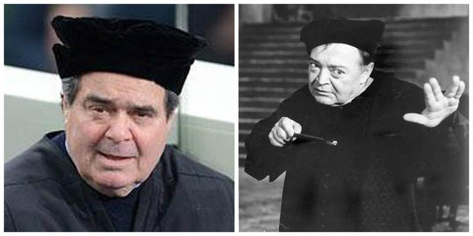 """Supreme Court Justice Antonin Scalia attends 2013 presidential inauguration as Peter Lorre in """"The Raven"""""""