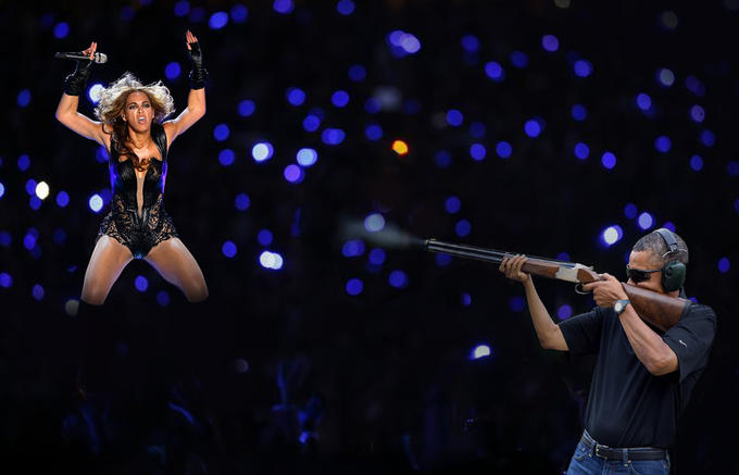 Obama Skeet Shooting Unflattering Beyoncé