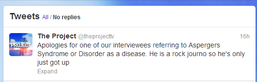 Asperger's tweet