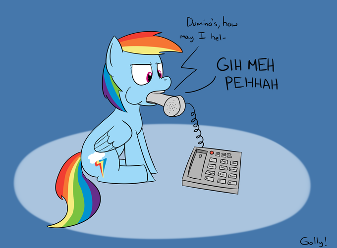 Rainbow dash attempts to order pizza