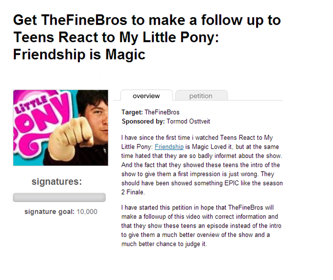 Get TheFineBros to make a follow up to Teens React to My Little Pony: Friendship is Magic