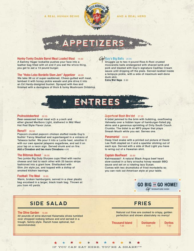 Guy's American Kitchen and Bar Spoof Menu