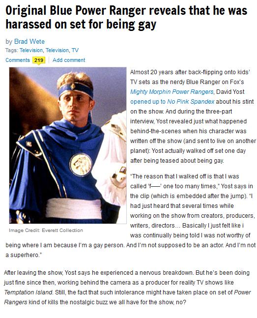 Blue Ranger Power Rangers Homophobia