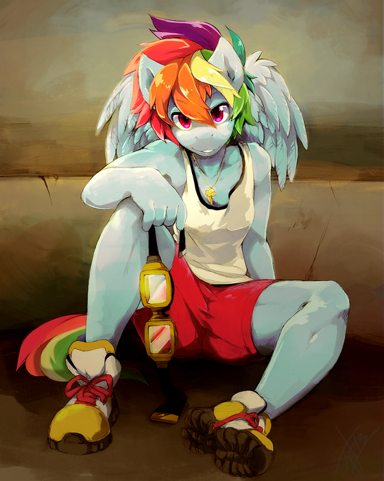 Rainbow is tired from all that jogging.