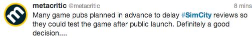 Metacritic tweet about SimCity
