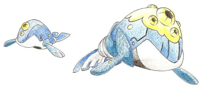 Fakemon Whalebby and Humparta