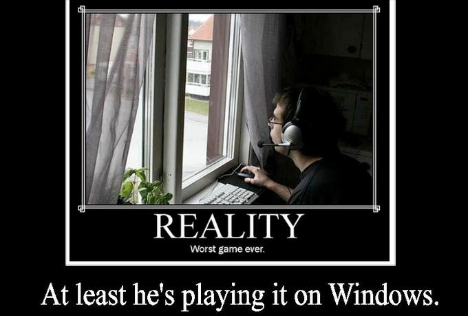 At least he's on Windows.