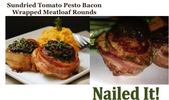 Sundried Tomato Pesto Bacon Wrapped Meatloaf Rounds