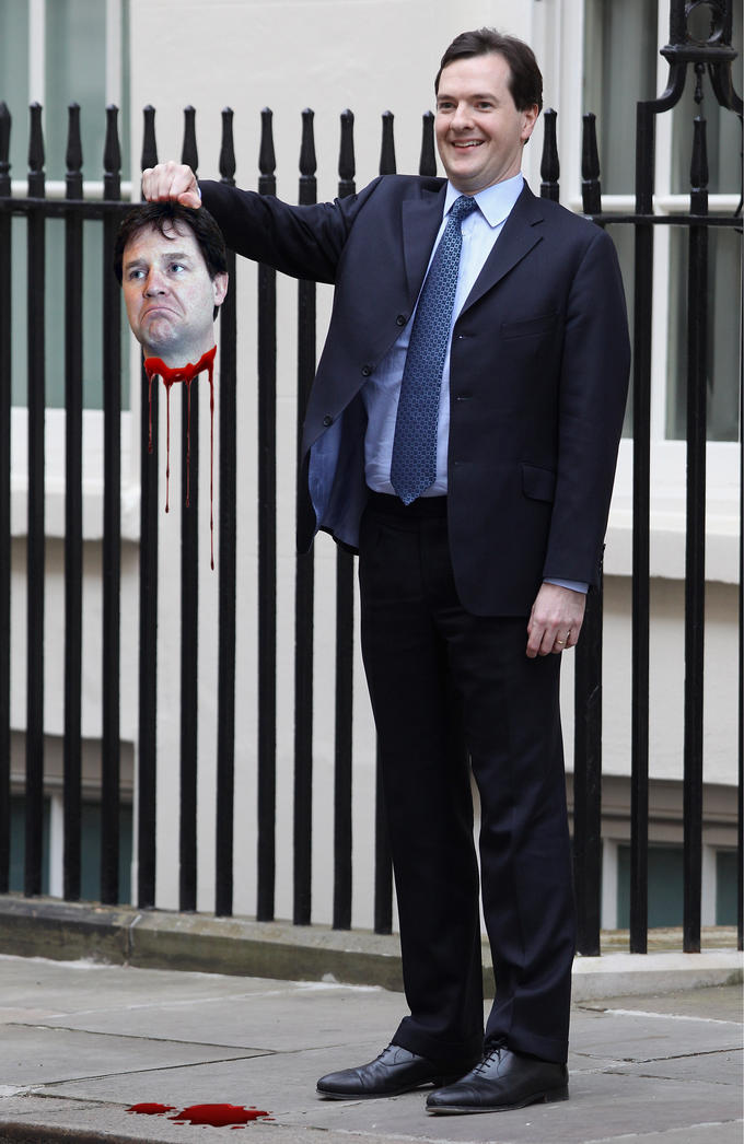 George Osborne with Nick Cleggs head