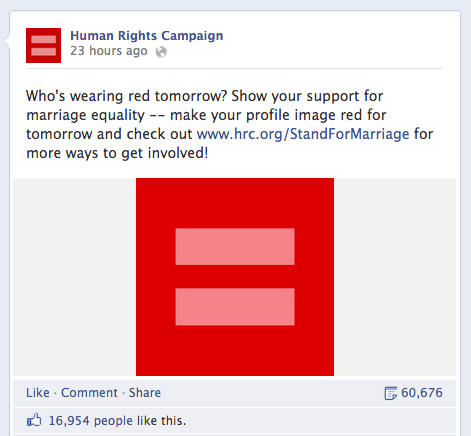 Human Rights Campaign's Facebook Post