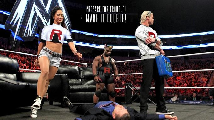 Dolph, AJ & Big E as Team Rocket