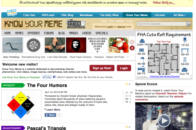 Know Your Meme homepage