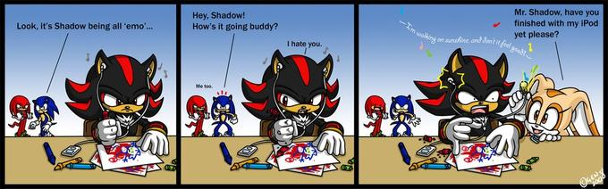 Shadow's walking on sunshine.