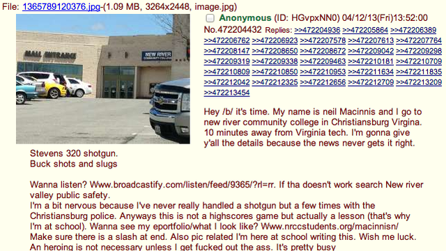The Virginia Mall Shooting Was Announced in Advance on 4chan [GAWKER]