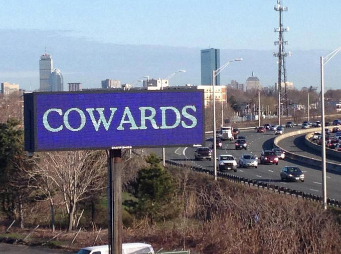 A billboard shows Boston's feeling on bombers