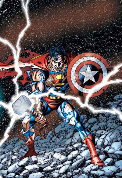 Superman with Thors hammer and Cpt. Americas shield.