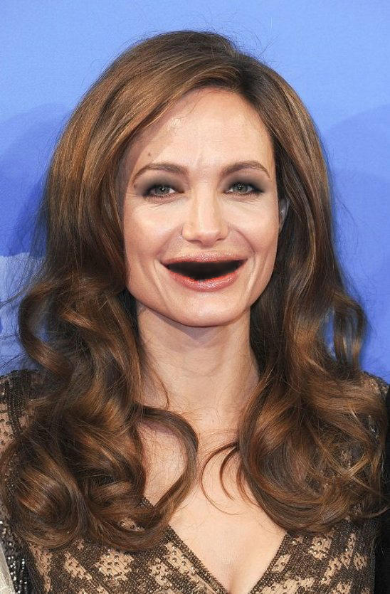 Angelina Jolie without teeth or eyelids