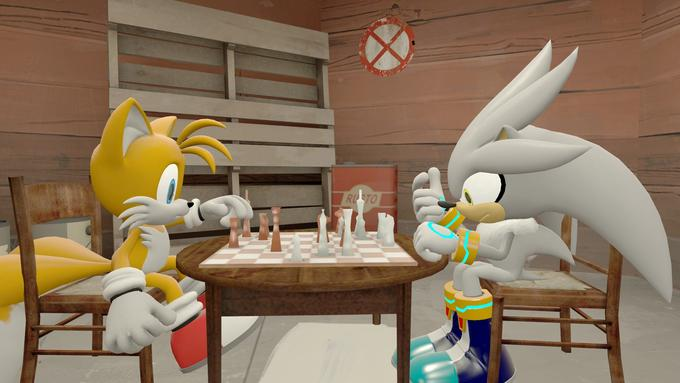 Tails and Silver playing chess.