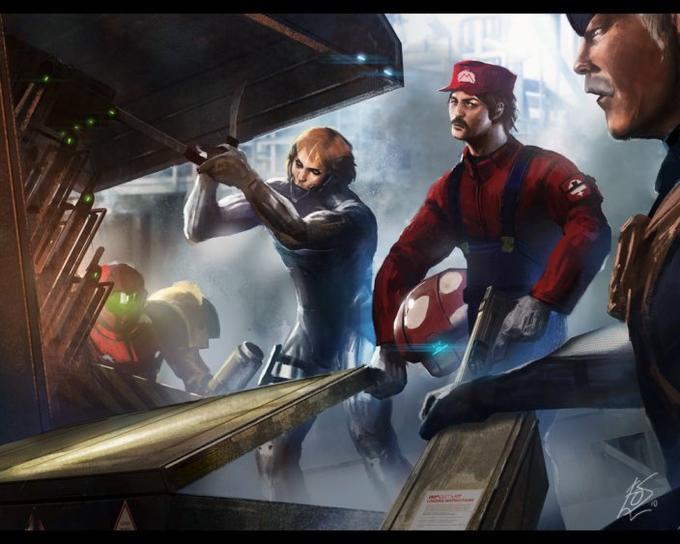 Mario, Samus, Snake, and Raiden on a mission
