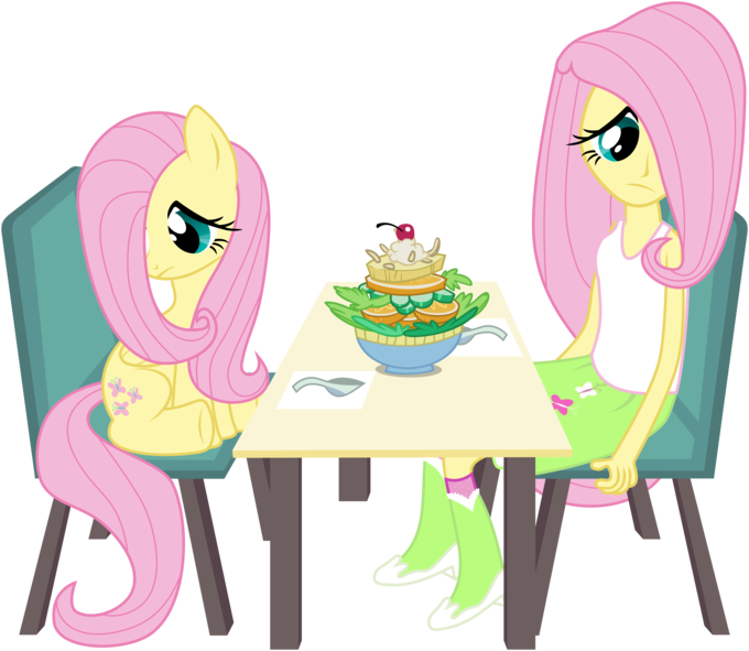 Two Fluttershies, One Salad