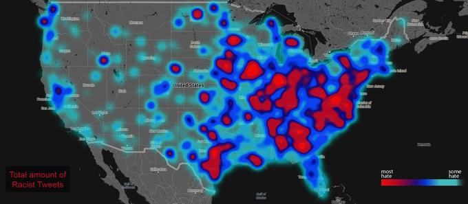 Heat map of hate from Twitter