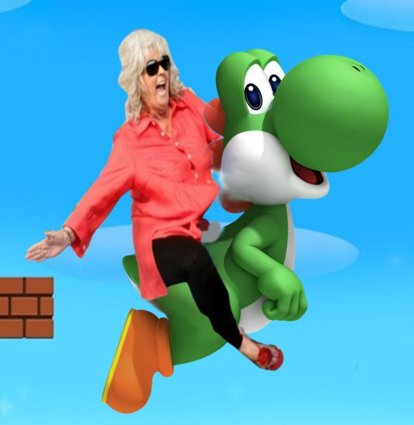 Paula Deen Riding Yoshi