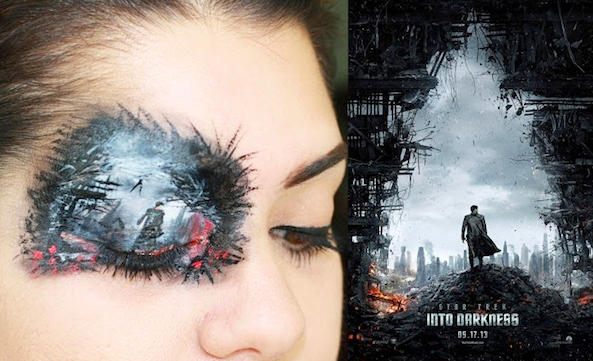 "A Woman Painted The ""Star Trek Into Darkness"" Poster On Her Eyelids With Makeup"