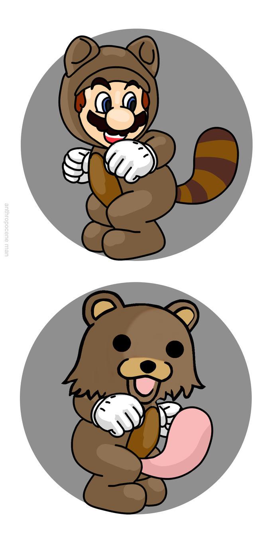 mario raccoon vs pedobear