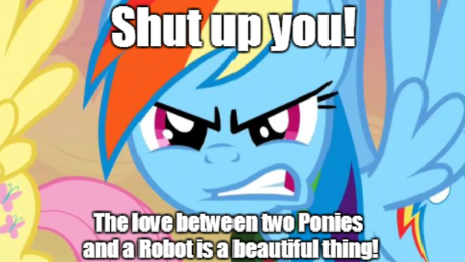 Shut up you! The love between two Ponies a Robot is a beautiful thing!