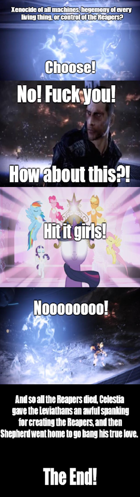My very own retarded alternate ending of Mass Effect 3 with Ponies