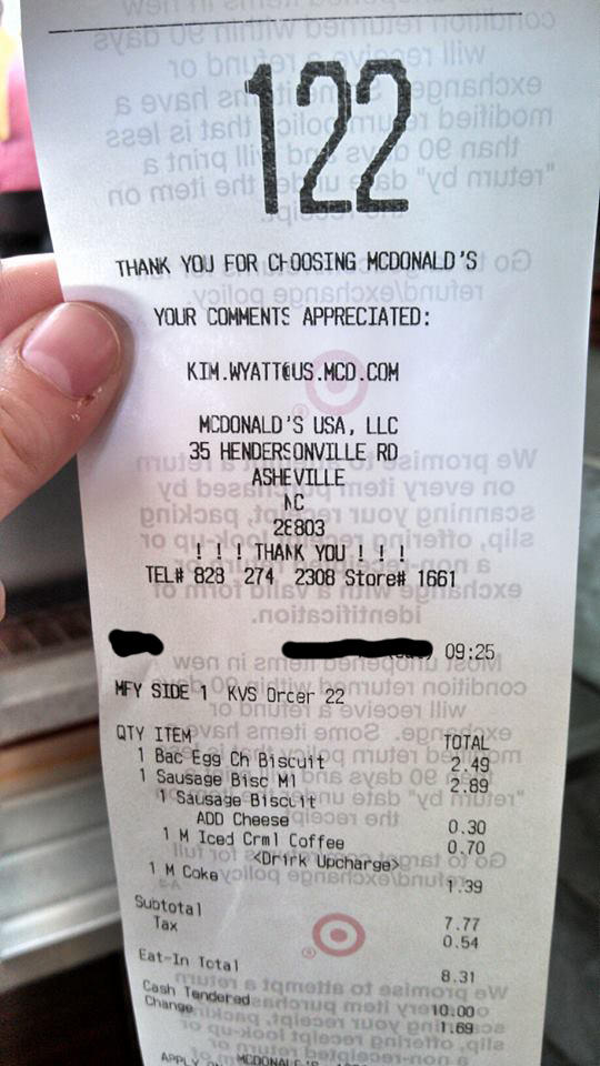 McDonald's receipt on Target tape